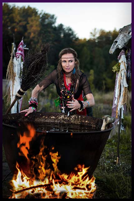 Witch casting magic herbal ritual
