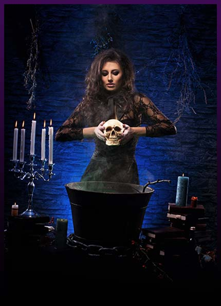 Casting black magic ritual