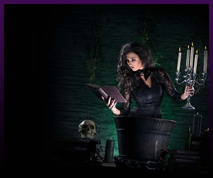 Witch casting strong magic spells