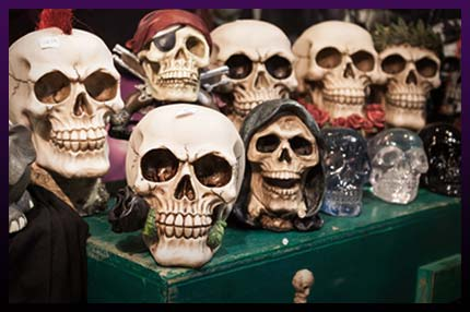 Black magic spell caster's skulls